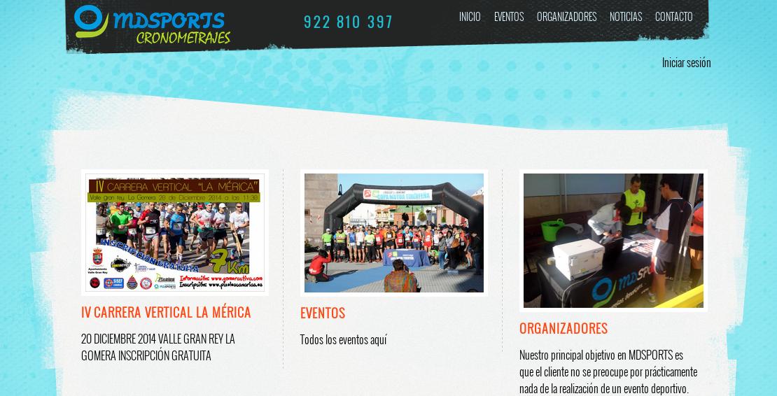 Desarrollo de páginas web: organización de eventos deportivos en Tenerife